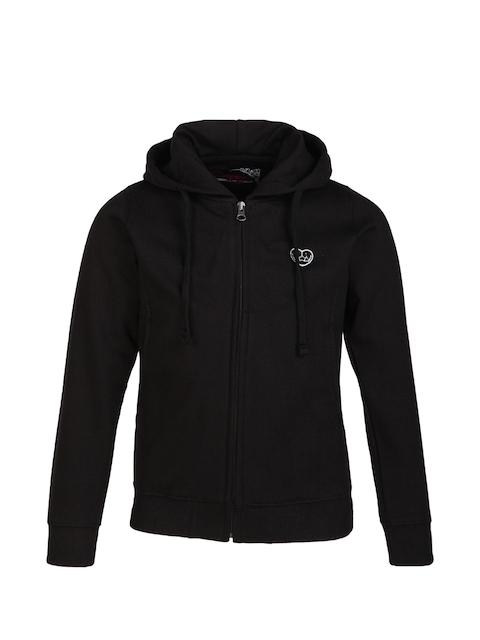 Cayman Girls Black Solid Hooded Sweatshirt