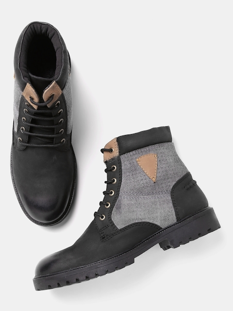 Roadster Men Black & Grey Colourblocked High-Top Flat Boots