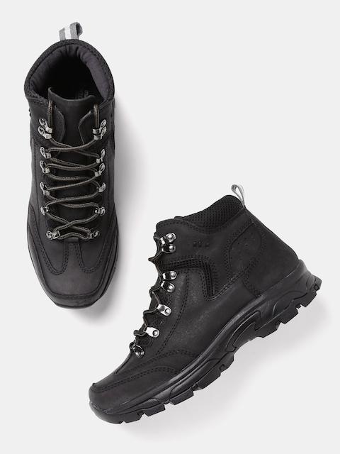Roadster Men Black Solid Mid-Top Boots