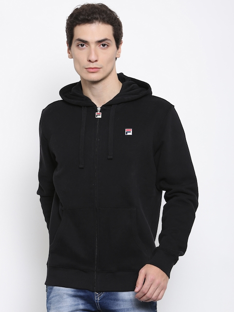 FILA Men Black Solid Hooded Sweatshirt