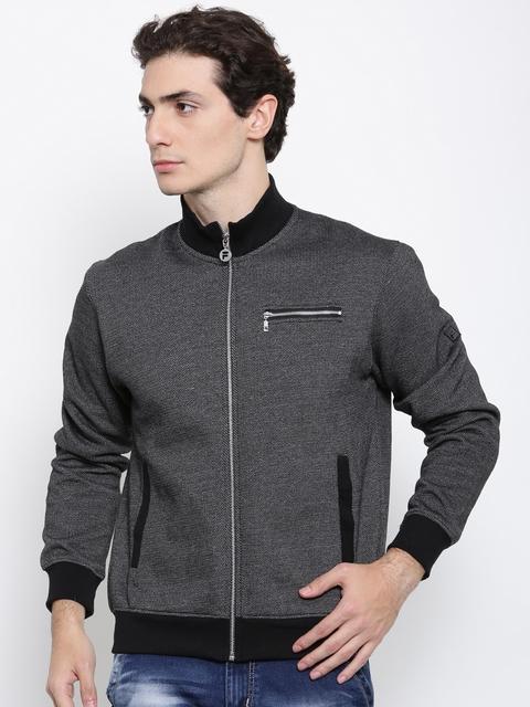 FILA Men Black Self Design Sweatshirt