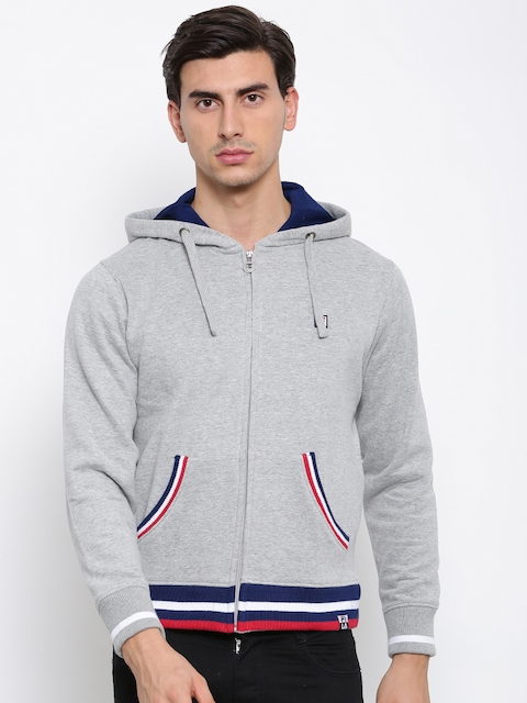 FILA Men Grey Melange Solid Hooded Sweatshirt