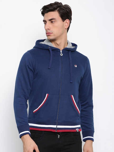 FILA Men Blue Solid Hooded Sweatshirt