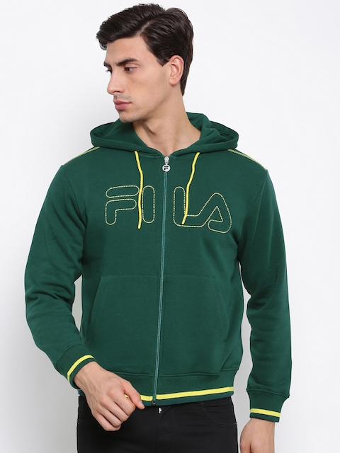 FILA Men Green Printed Hooded Sweatshirt