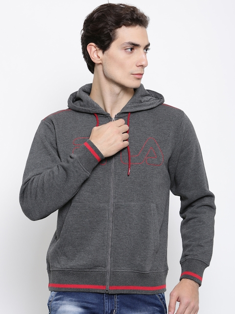 FILA Men Grey Solid Hooded Sweatshirt