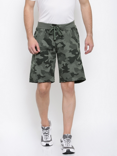 FILA Men Grey & Black Printed Regular Fit Regular Shorts
