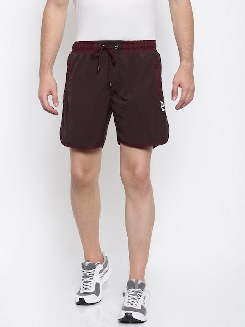 FILA Men Brown Solid Regular Fit Sports Shorts