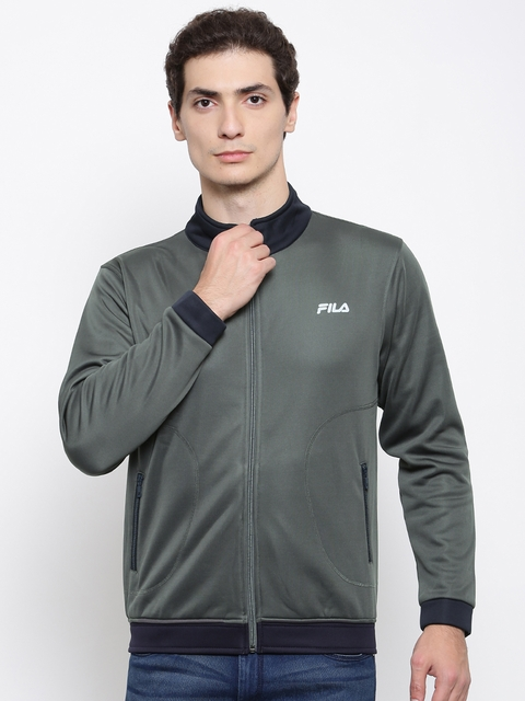 FILA Men Grey Solid Sporty Jacket