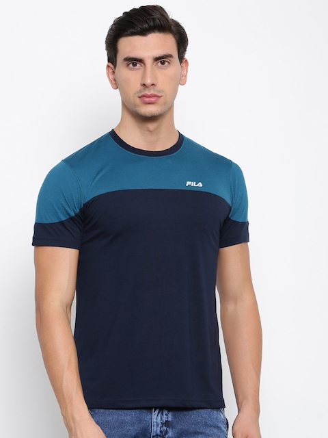 FILA Men Blue Colourblocked Round Neck T-shirt
