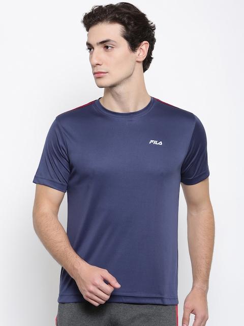 FILA Men Blue Solid Round Neck T-shirt