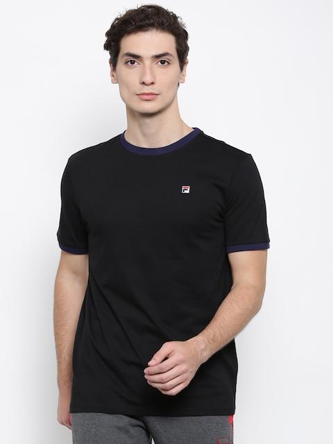 FILA Men Black Solid Round Neck T-shirt