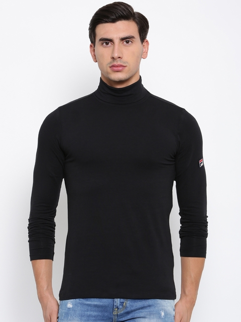 FILA Men Black Solid Turtle Neck T-shirt