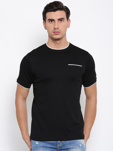 FILA Men Black Solid Round Neck T-shirt