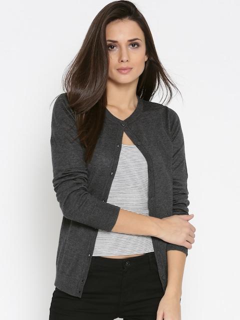 U.S. Polo Assn. Women Women Charcoal Grey Solid Cardigan