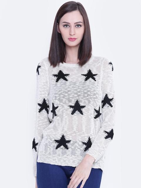 U.S. Polo Assn. Women Women Off-White & Black Star Pattern Sweater