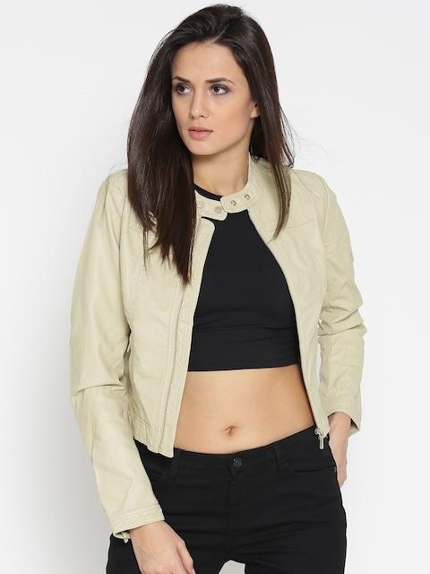 U.S. Polo Assn. Women Women Cream-Coloured Solid Biker Jacket
