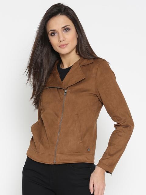 U.S. Polo Assn. Women Women Brown Solid Biker Jacket