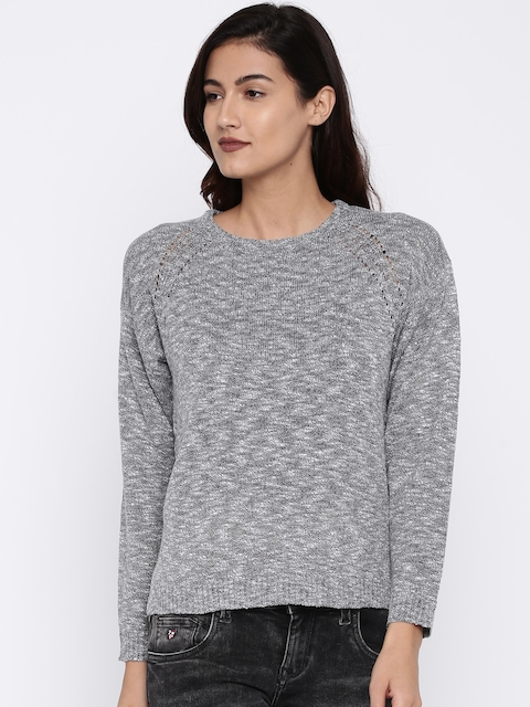 U.S. Polo Assn. Women Grey Melange Self Design Pullover