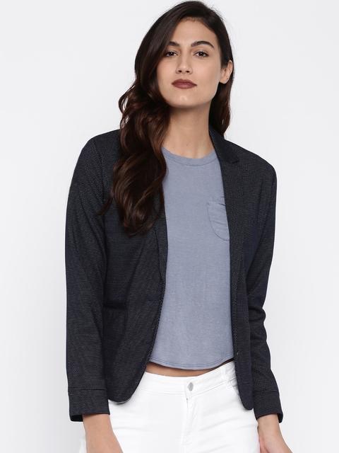 U.S. Polo Assn. Women Blue Self Design Single-Breasted Blazer