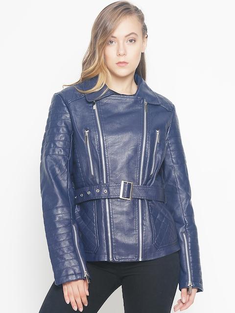 The Indian Garage Co Women Navy Blue Solid Biker Jacket