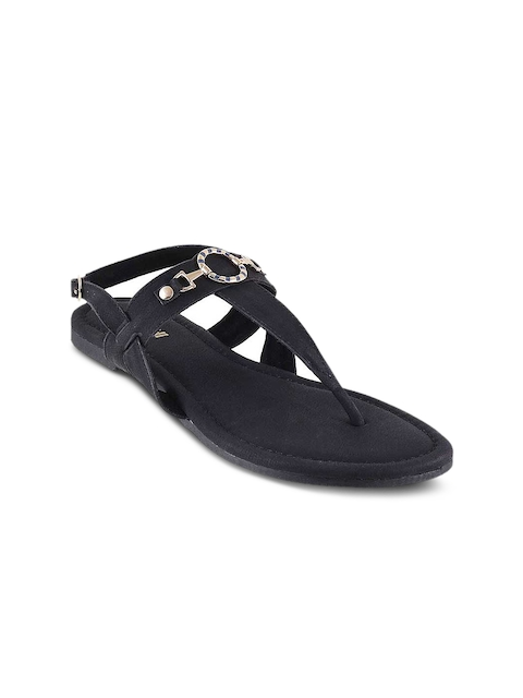 Mochi Women Black Solid Synthetic T-Strap Flats