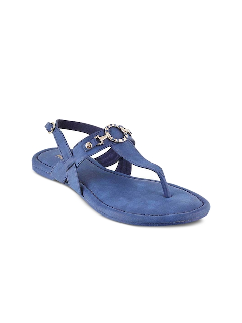 Mochi Women Blue Solid Synthetic T-Strap Flats