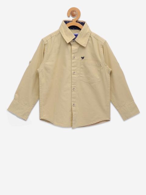 612 league Boys Beige Regular Fit Solid Casual Shirt