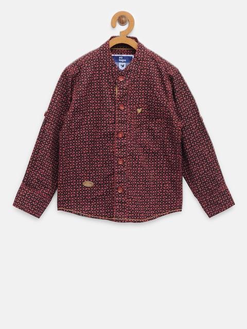612 league Boys Maroon & Black Regular Fit Printed Casual Shirt