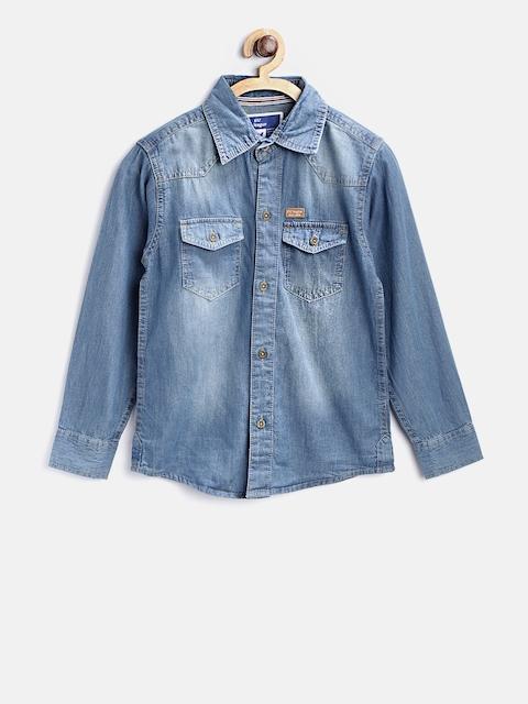 612 league Boys Blue Regular Fit Faded Denim Casual Shirt