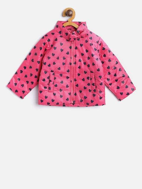 612 league Girls Pink & Black Printed Padded Jacket