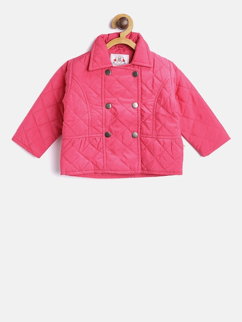 612 league Girls Pink Solid Quilted Jacket
