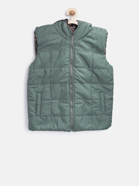 612 league Boys Olive Green & Brown Reversible Hooded Padded Jacket