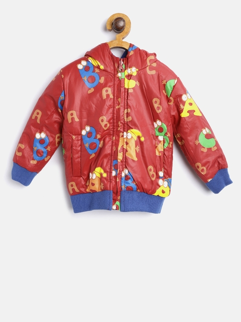 612 league Boys Red Printed Reversible Bomber Jacket