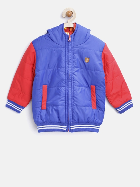 612 league Boys Blue & Red Reversible Hooded Bomber Jacket