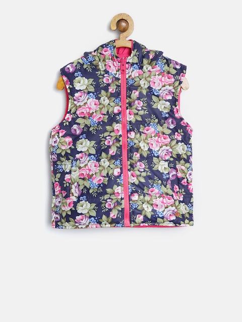 612 league Girls Navy & Pink Floral Print Padded Hooded Reversible Jacket