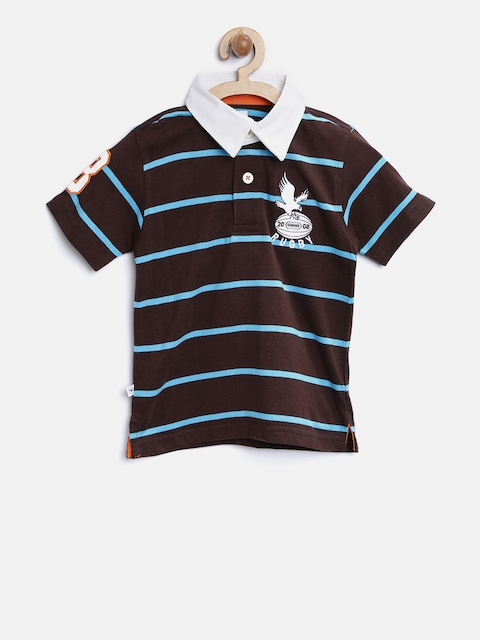 612 Ivy League Boys Brown Striped Polo Collar T-shirt  available at myntra for Rs.337