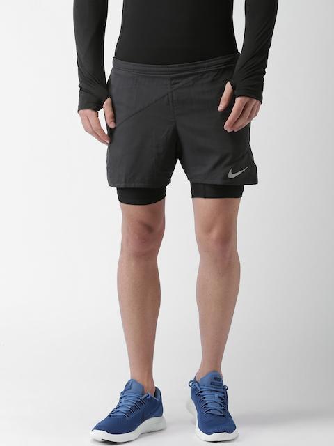 Nike Men Black Solid FLX 2IN1 5 DISTNCE SH Sports Shorts