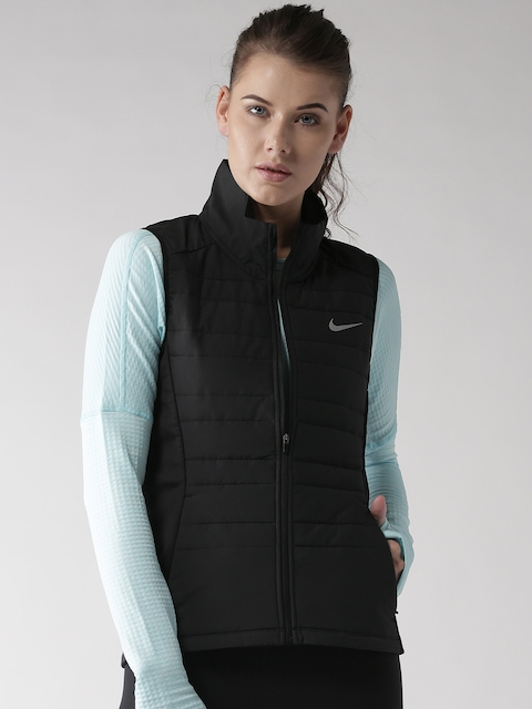 Nike Women Black AS Essential Vest Solid Insulator Quilted Running Jacket  available at myntra for Rs.5995