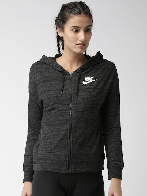 Nike Women Charcoal Grey AS W NSW Self-Design Sporty Jacket