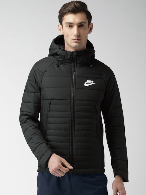 Nike Men Black Solid Quilted Hooded AS M NSW SYN Jacket  available at myntra for Rs.9495