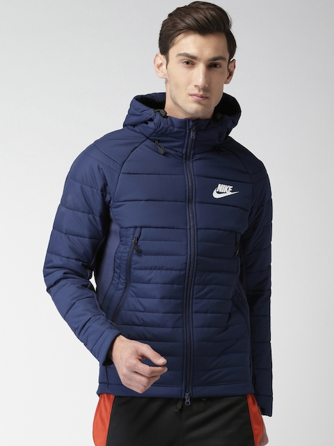 Nike Men Blue Solid AS M NSW SYN Quilted Hooded Jacket  available at myntra for Rs.9495