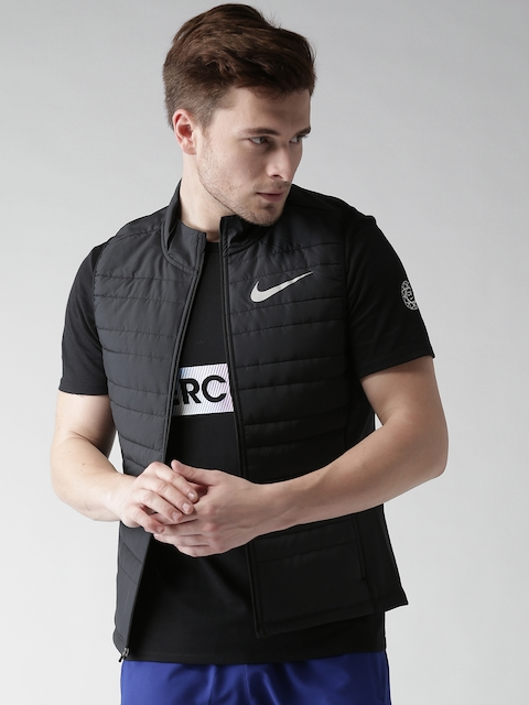 Nike Men Black AS FIlled Essential Solid Sleeveless Insulator Quilted Running Jacket