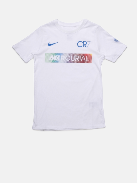 Nike Boys White RONALDO MERCURIAL Printed Football T-shirt  available at myntra for Rs.1046