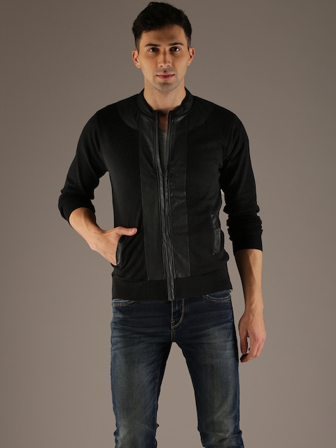 Flying Machine Men Black Solid Front-Open Sweater