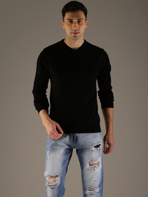 Flying Machine Men Black Solid Pullover