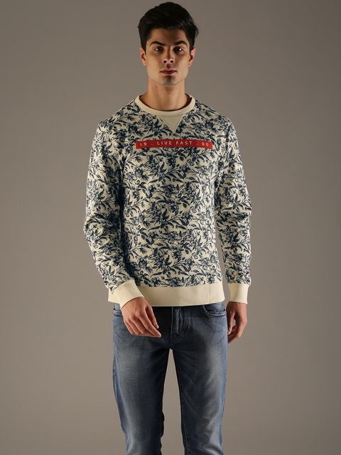 Flying Machine Men Beige & Navy Blue Printed Sweatshirt