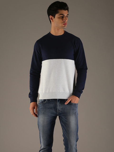Flying Machine Men Navy Blue & Grey Melange Colourblocked Sweatshirt