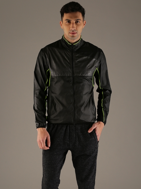 Flying Machine Men Black Solid Sporty Jacket