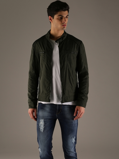 Flying Machine Men Olive Green Solid Tailored Jacket