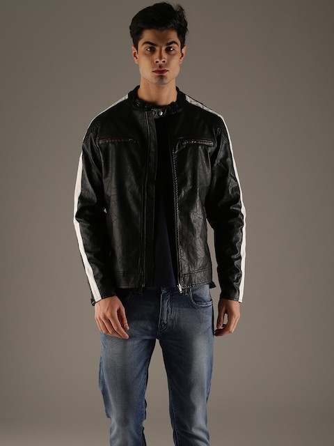Flying Machine Men Black Solid Biker Jacket